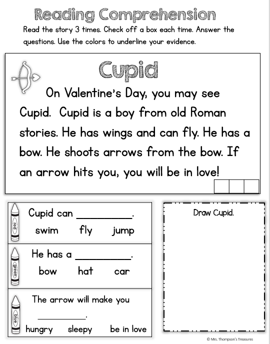 Free Valentine S Day Printable Activities Reading Comprehension And Color By Coin Valentines Reading Activities Valentine Reading Reading Printables