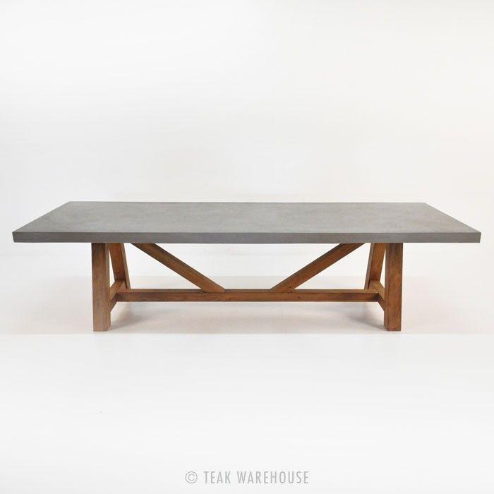 Teak Warehouse Raw Concrete Trestle Tables Trestle Dining