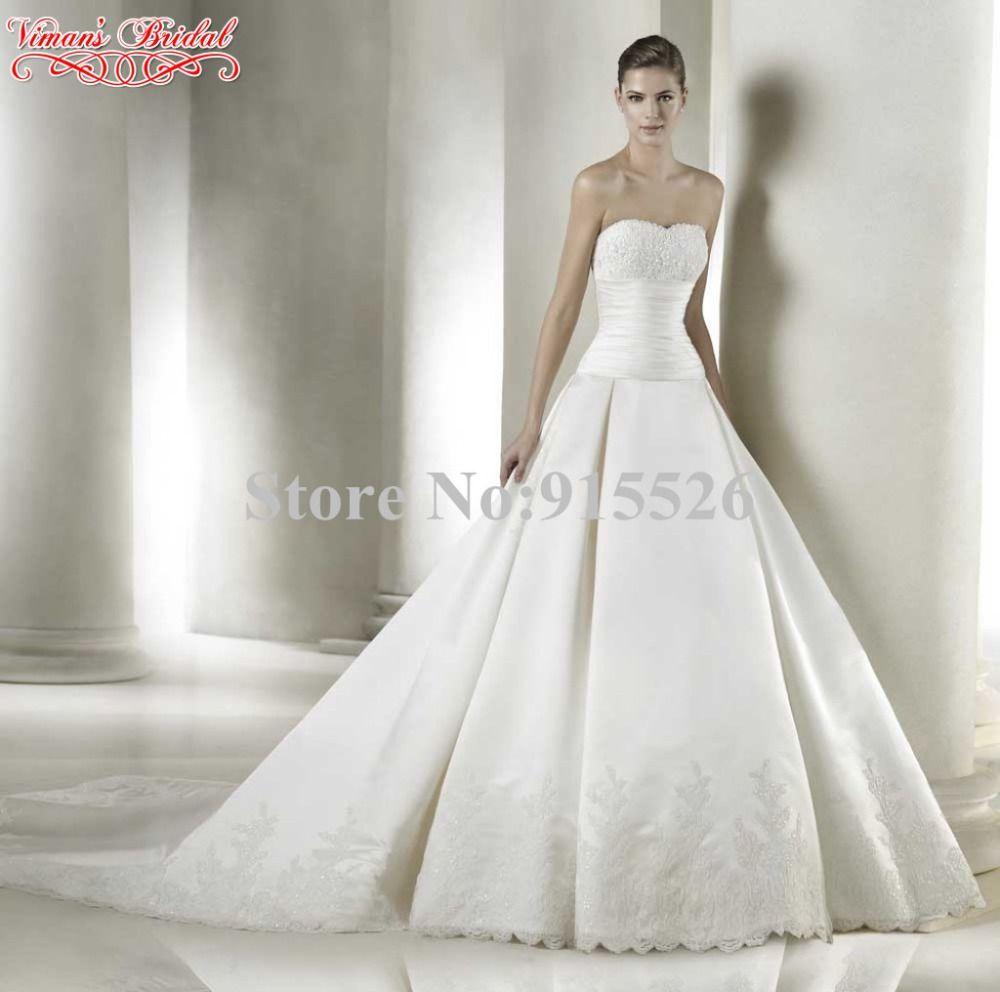 Wedding renewal dresses for beach  Click to Buy ucuc  Vimanus Bridal Satin Vestidos Novia Appliques
