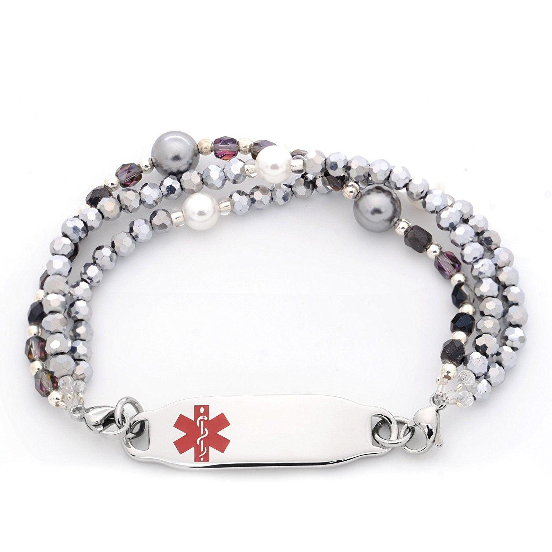Medical Id Triple Strand Beaded Interchangeable Bracelet Cf182ox6aqq Home Bracelets Identification 3023 Jewelry Fashion Women Outfits