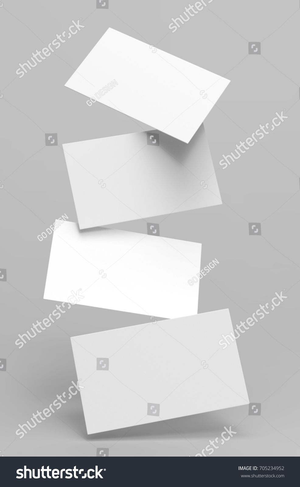 Blank White Business Cards Or Visiting Card In The Air Template 3d