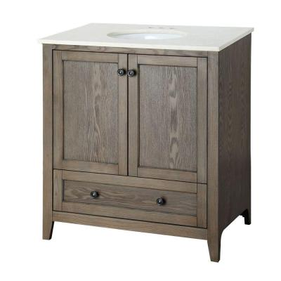 Foremost Brentwood 31-1/2 in. Vanity in Driftwood with Engineered Stone Vanity Top in Cream-BRODD3119 at The Home Depot