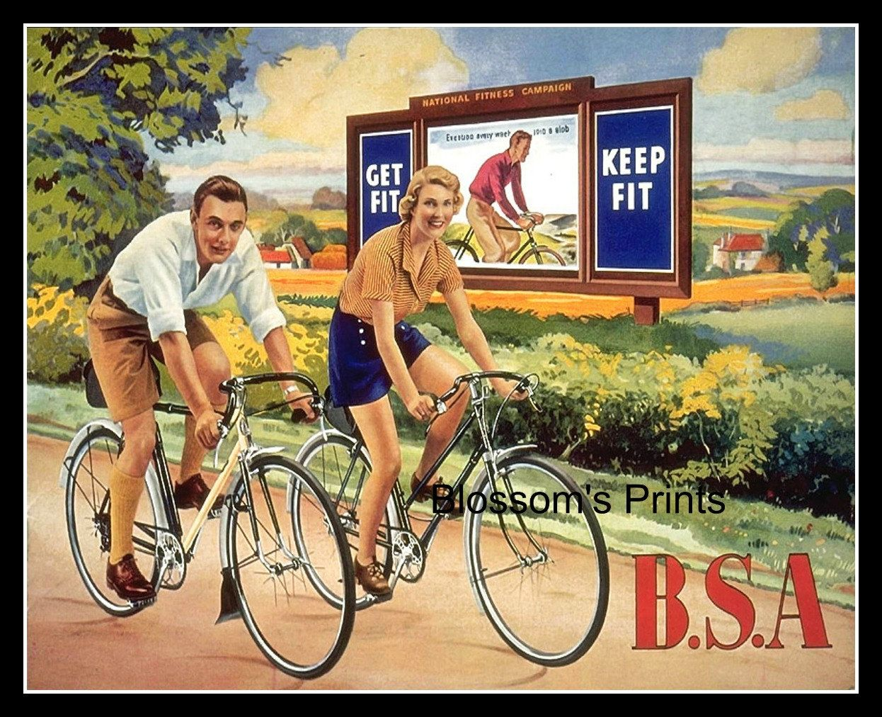 BSA bicycling advertising by Blossomsvintageprint on Etsy