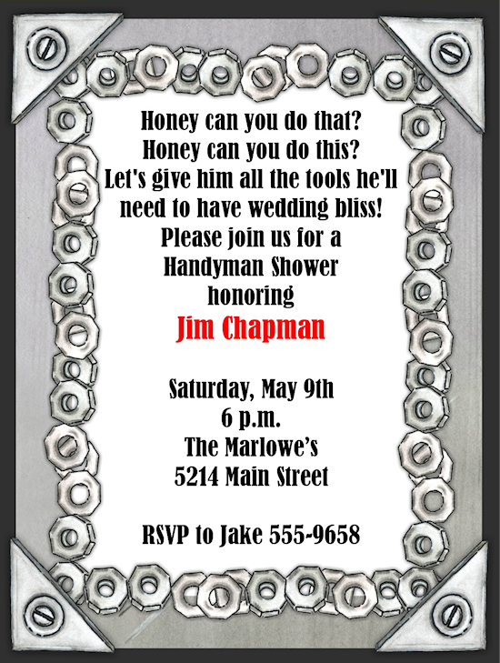 Nuts and bolts groom tool shower invitations party for Man wedding shower invitations