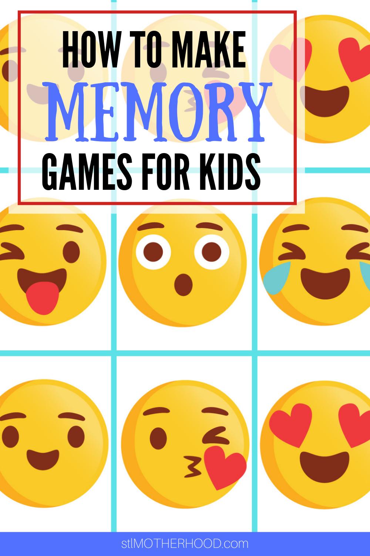 DIY Memory Game Cards for kids (free printable) in 2020