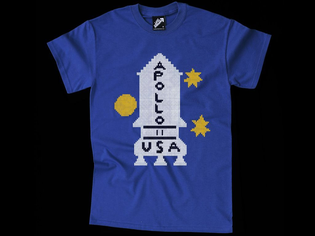 Shirt design and colour - A Three Colour Design Hand Screen Printed On A Regular Fit Cotton Blue T Shirt This T Shirt Design Pays Homage To Danny S Apollo 11 Jumper Featured In The