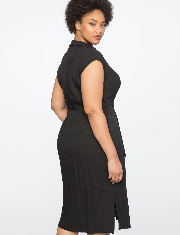Sleeveless shirt dress with tie womenus plus size dresses