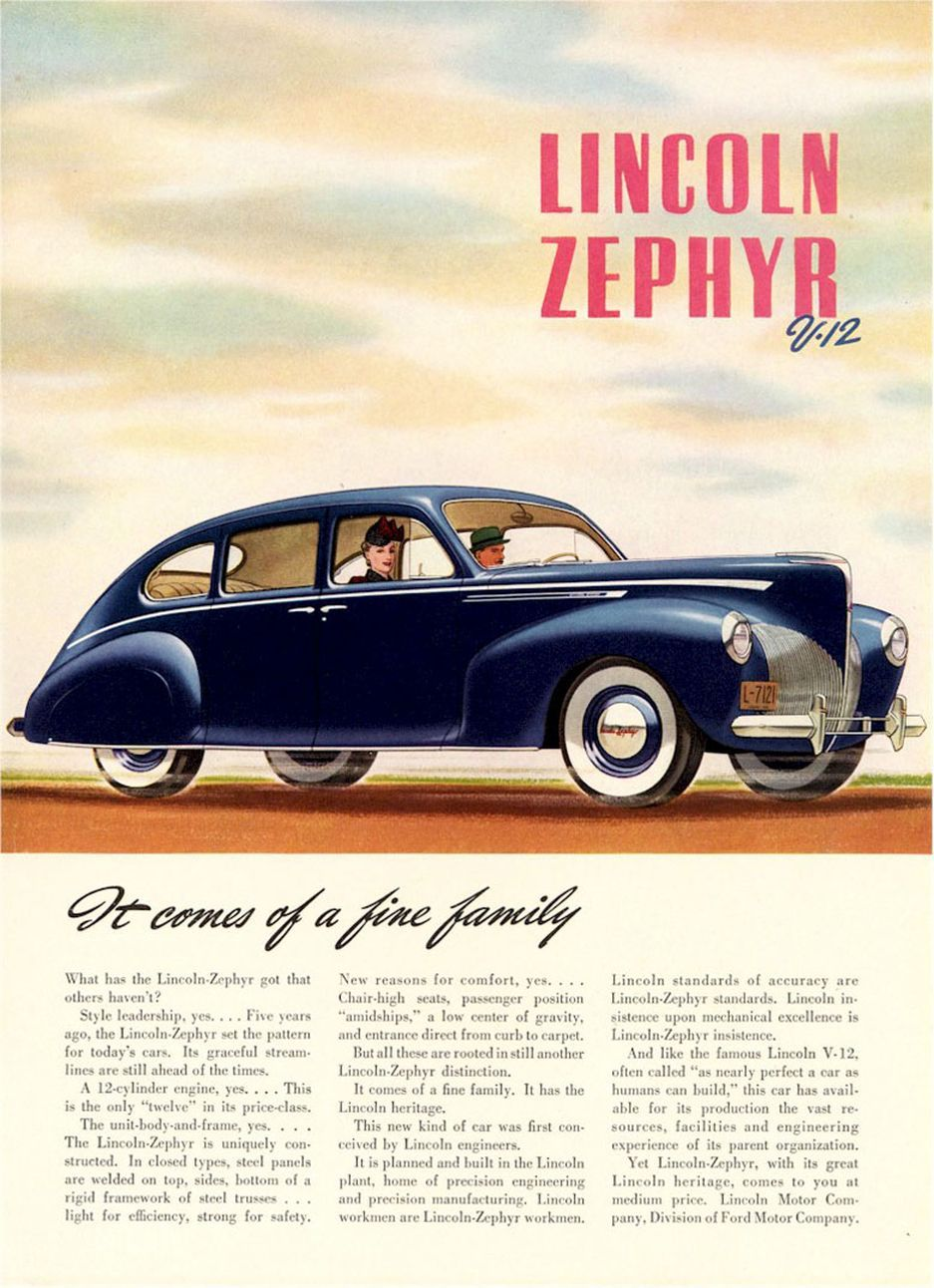 1940 Lincoln Zephyr Ad-07 | Cars | Pinterest | Ads, Cars and Ford