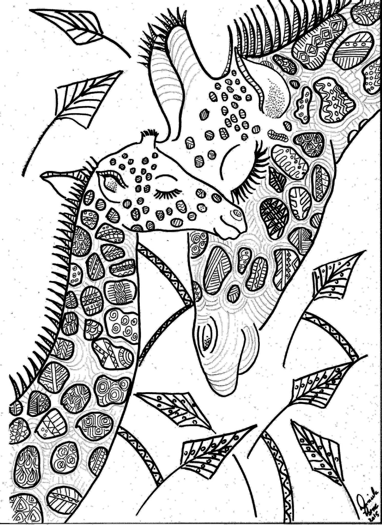 Gorgeous giraffes coloring page | Giraffe coloring pages ...