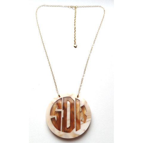 Cannes Two-Toned Monogram Necklace, $78.00