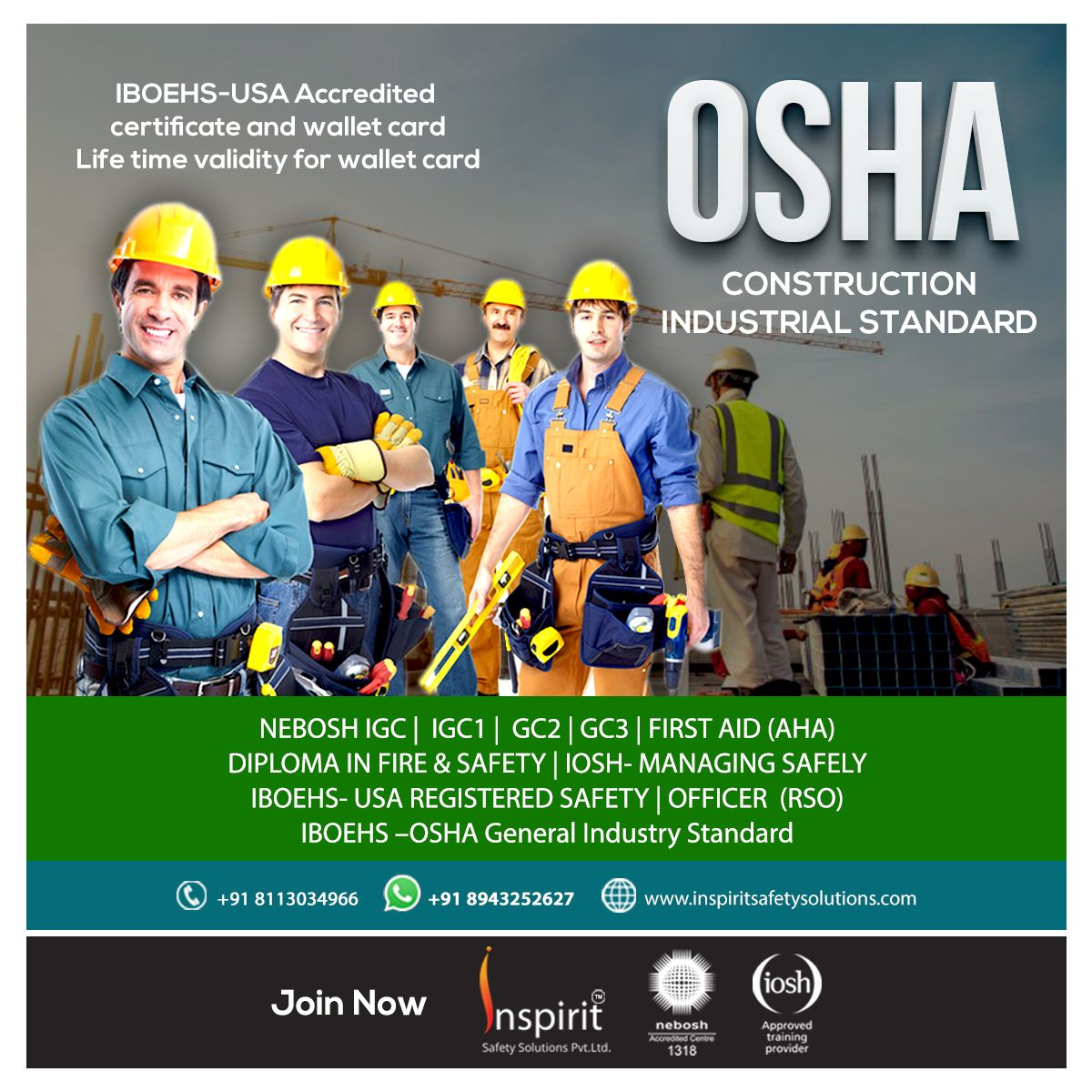 Enroll for OSHA safety training courses in Kerala. Kerala