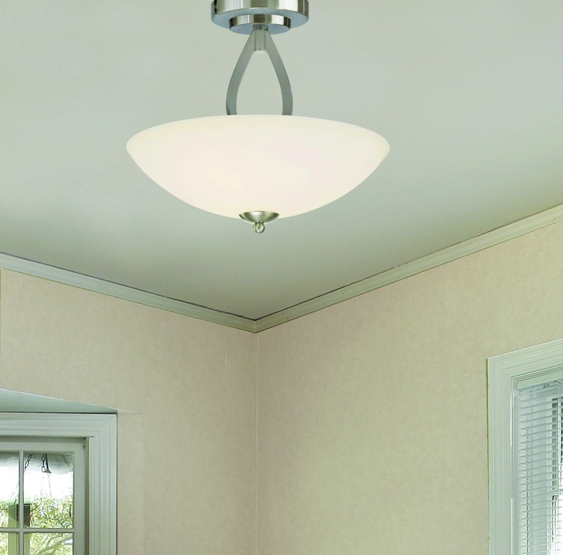 Patriot Lighting® Audrey Semi-Flush Ceiling Light with Brushed ...