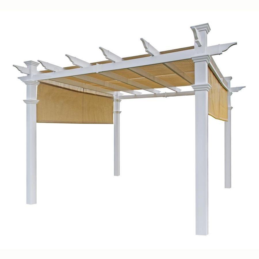 New England Arbors 120 In W X 120 In L X 107 5 In White Plastic Freestanding Pergola With Canopy Va42057 In 2020 Vinyl Pergola Pergola Pergola Canopy