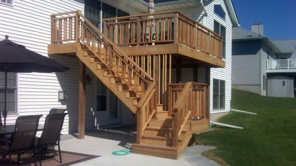 Two story decks with stairs wood deck timm for 3 story deck design