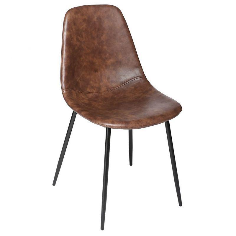 Chaise Style Industriel Metal Et Assise Marron Effet Cuir Atmosphera En 2020 Chaise Style Industriel Chaise Cuir Marron Chaise
