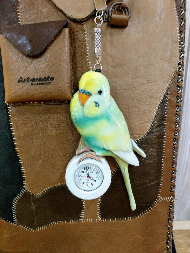 インコキーホルダー ネックレス 時計付き 3d インコ似顔絵