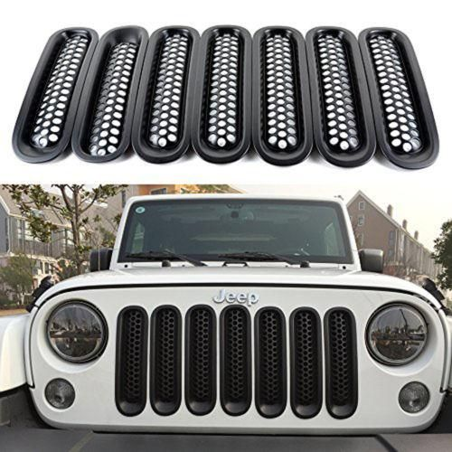 Gloss Black Headlight+Front Mesh Grille+Gas Cover for 07-16 Jeep Wrangler JK