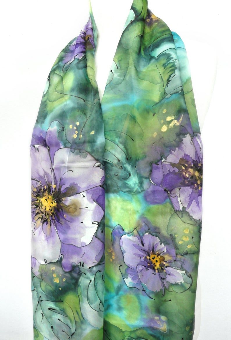 Hand Painted Scarf. Woman Birthday Gift for Her. Genuine