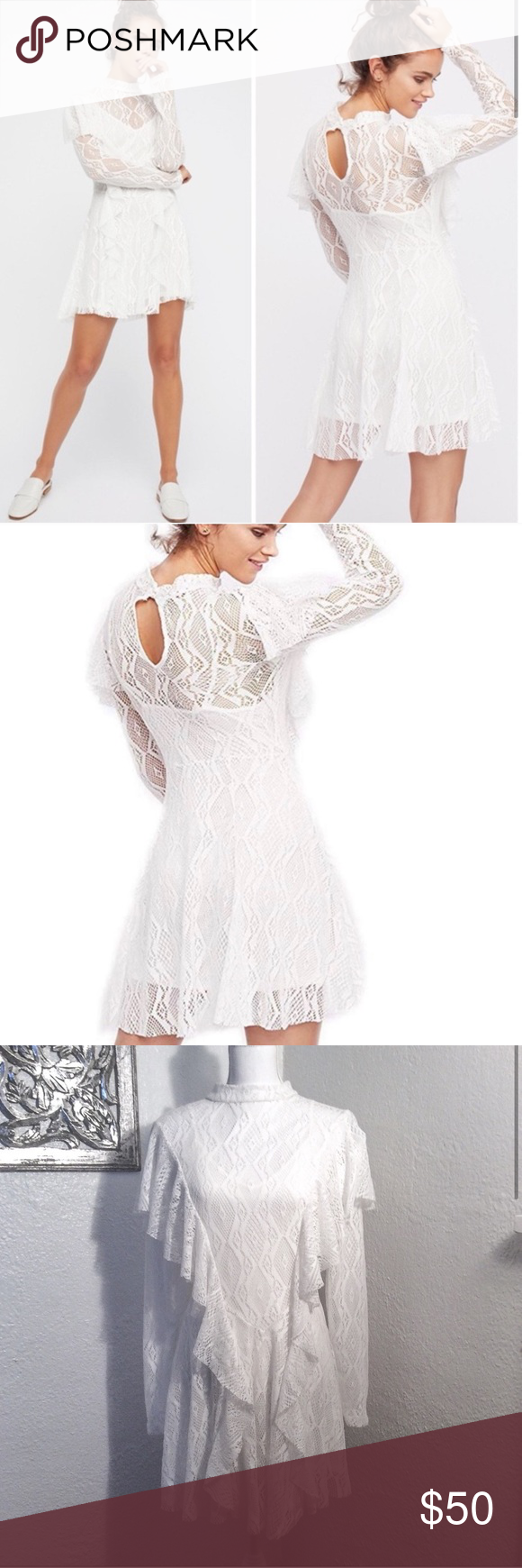 """NEW Free People Mock Lace Dress Beautiful lace mock neck Free People dress. Long sleeves with ruffle details. Has a spaghetti strap lining underneath lace.   NWT Tag was removed but will come with it Color: Ivory Size: small  Lace approximate measurements: Bust: 36"""" Waist: 30"""" Length: 33"""" Collar: 19""""/20""""  Submit an offer 💕  #0023 Free People Dresses Mini"""