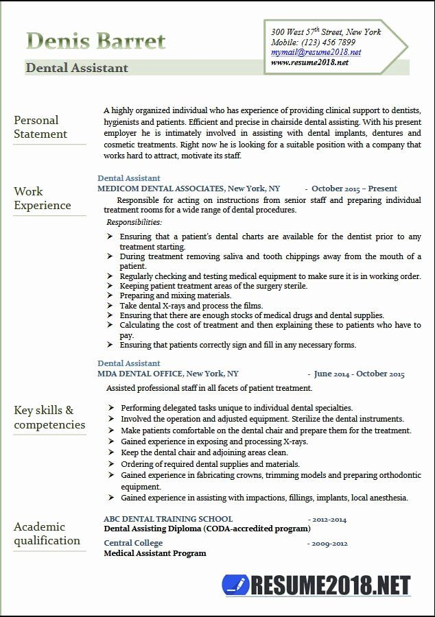 Example Of Dental Assistant Resume Unique Dental Assistant Resume Samples 2018 Resume 2018 Dentist Resume Resume Skills Dental Assistant