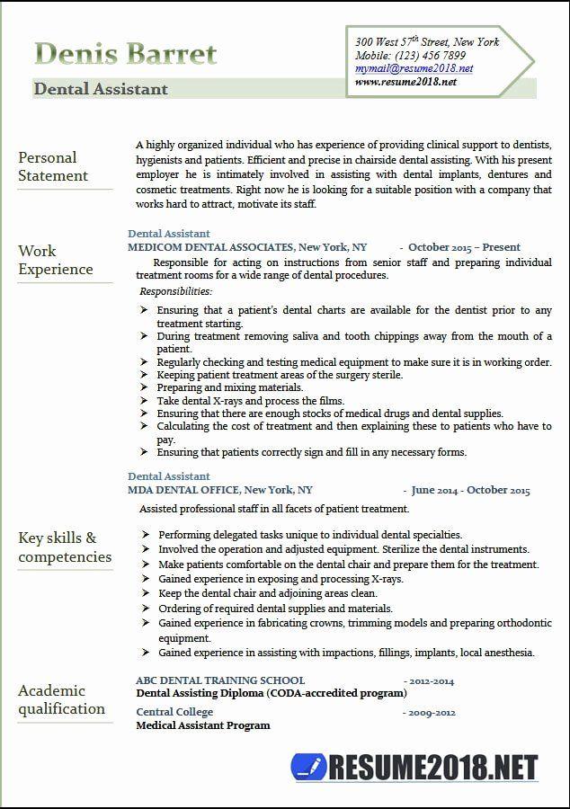 Example Of Dental assistant Resume Unique Dental assistant