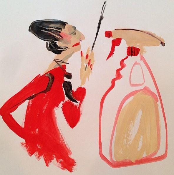 Diana Vreeland Stares Down a 'Fantastik' Spray Bottle. Fashion Illustration, by Donald Drawbertson, via Instagram.