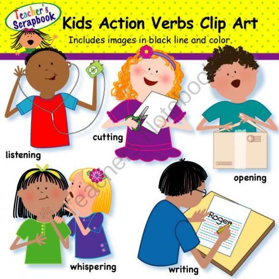 Kids Action Verbs Clip Art From Teacherscrapbook On Teachersnotebook Com This Kids Action Verbs Clip Art Set From Te Action Verbs Verbs For Kids Clip Art