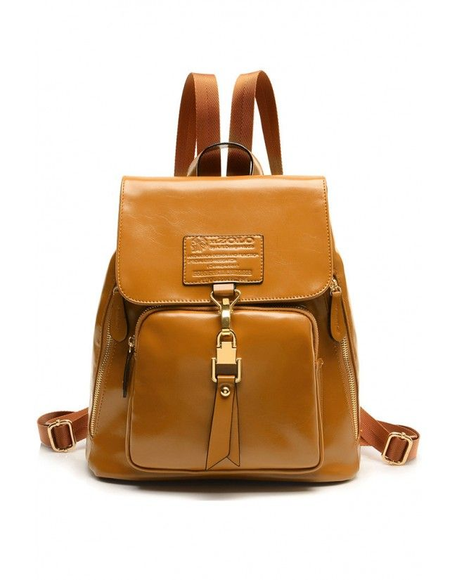 LUCLUC Yellow Leather Zipper Backpacks - LUCLUC