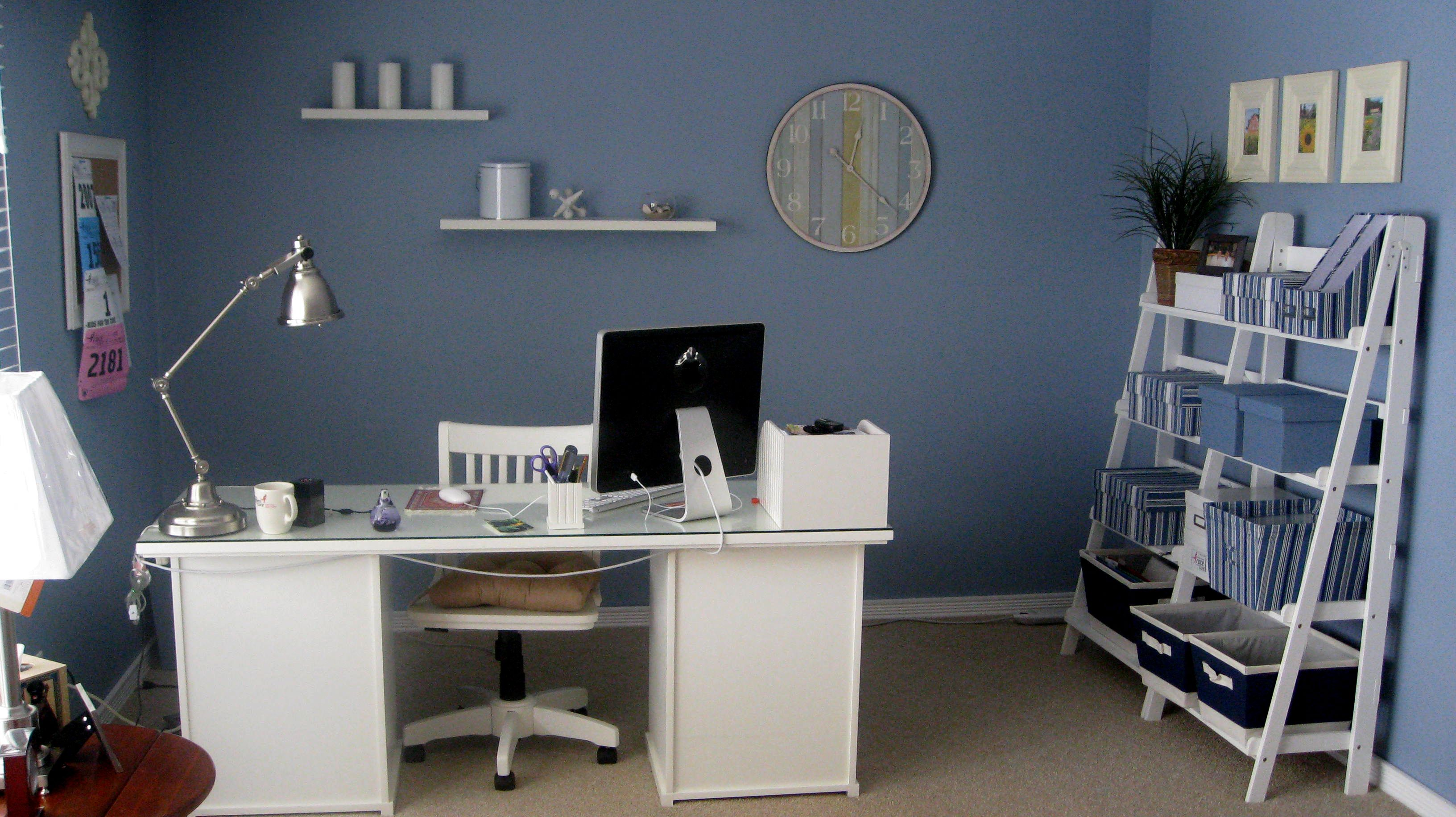 home office decorating ideas furniture with cool blue wall on blue office color id=15635