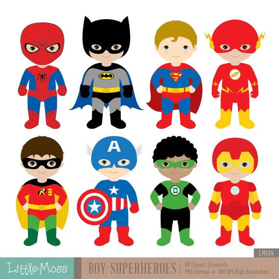 Superhero Art For Little Boys: Boys Superhero Costumes Clipart 1, Boy Superheroes