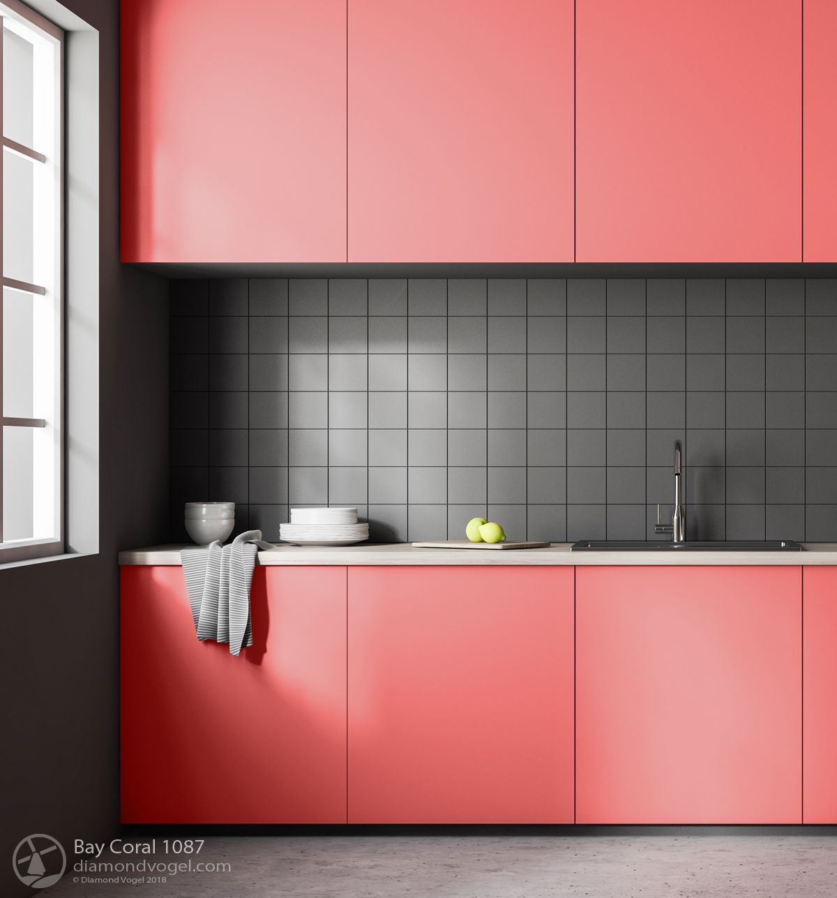 Painted Kitchen Cabinets Bay Coral 1087 Diamond Vogel Paint Coral Kitchen Kitchen Interior Kitchen Cabinets
