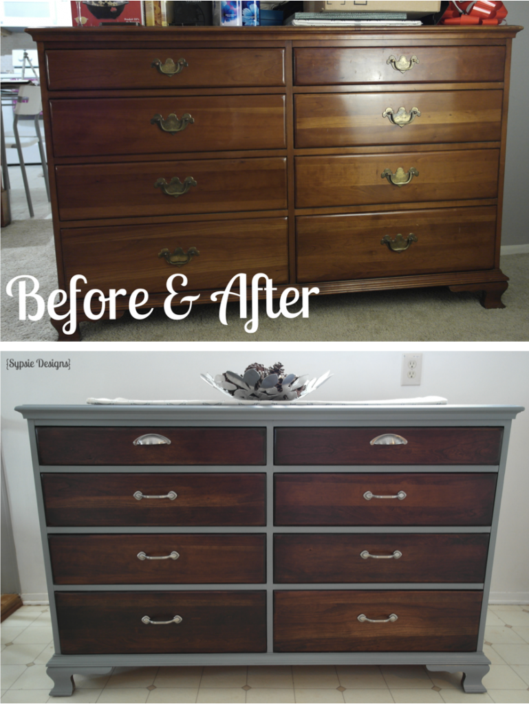 Old dresser makeover with gray paint dark walnut stain for Dark grey furniture paint