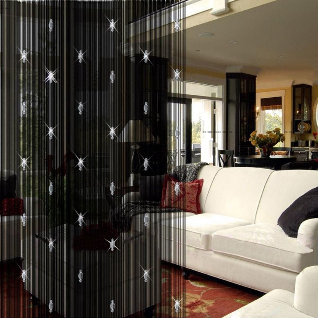 Cool black living room curtain divider with sparkling for Living dining room separation ideas