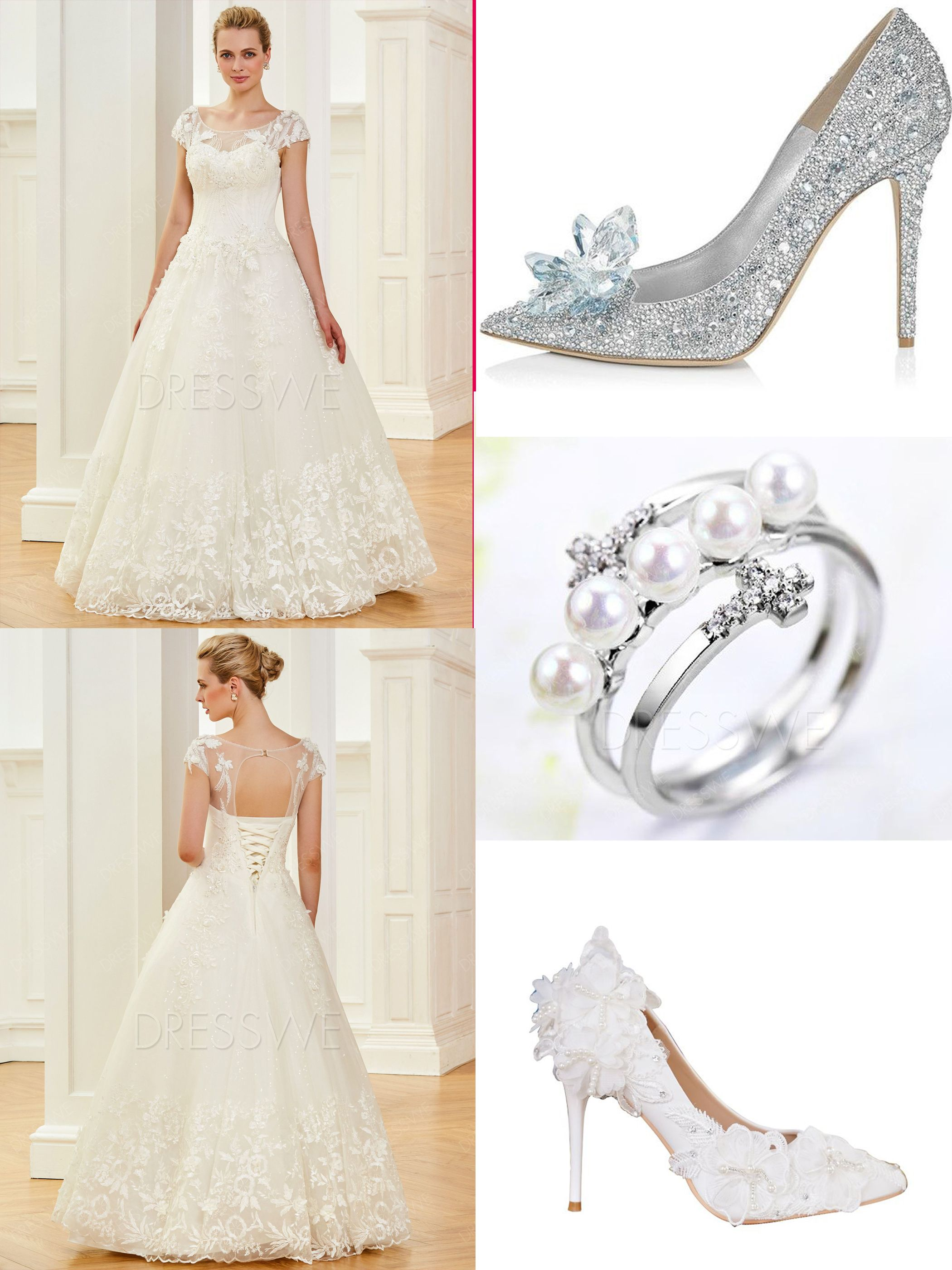 Cap sleeves beading appliques ball gown wedding dress in