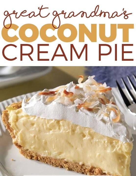 Great Grandma's Coconut Cream Pie #sugarcreampie