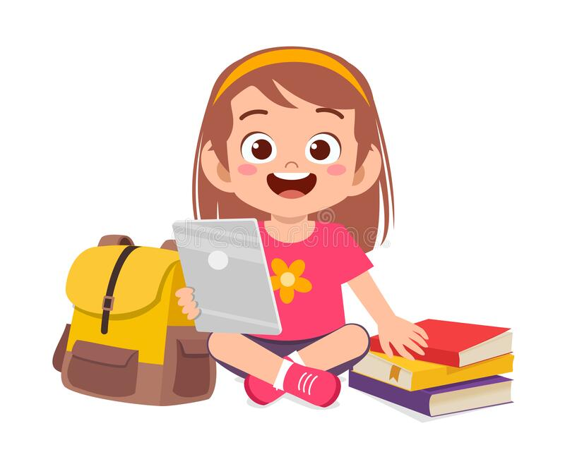 Happy Cute Little Kid Boy Study Using Tablet Royalty Free Illustration Kids Cartoon Characters Friends Illustration Cute Kids