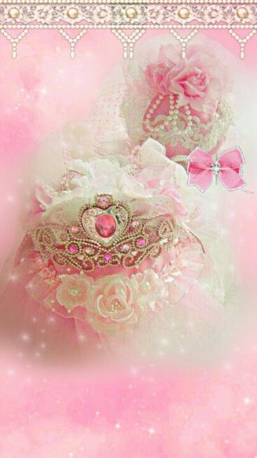 Princess Crown Shabby Chic Wallpaper Pink Wallpaper Wallpaper