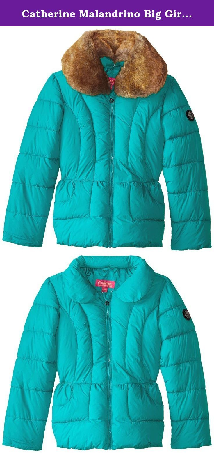49d6d7738c58 Catherine Malandrino Big Girls Peplum Bubble Jacket With Fuax F ...