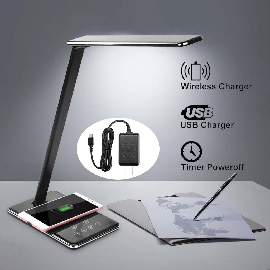 Led Table Lamp Light Dimming Desk Lamp Wireless Charger Pad Fast Cell Phone Charging Holder Stand Fold Book Lights Wireless Charging Lamp Phone Charging Holder