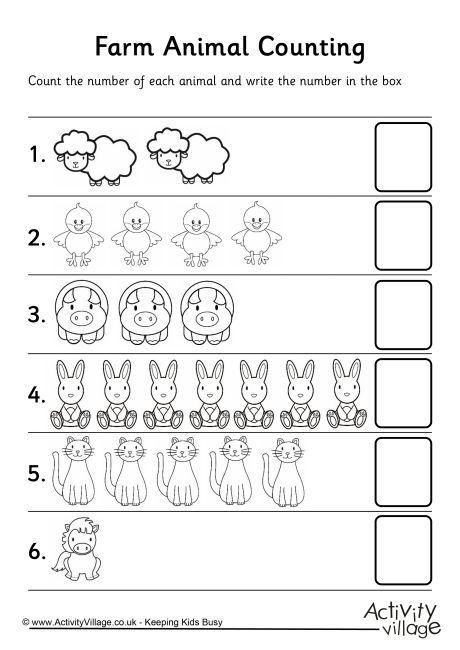 Farm Animal Counting 2 Tema De Granja Para Preescolar Hojas De