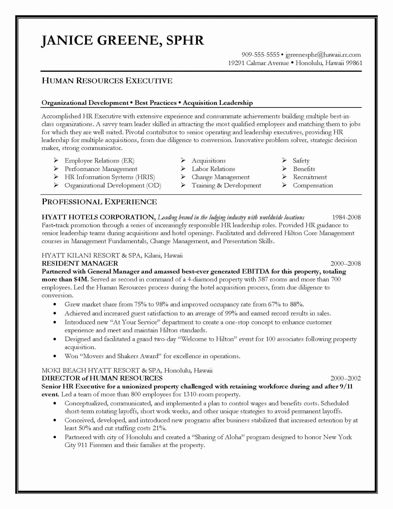 Hospitality Objective Resume Samples Executive resume