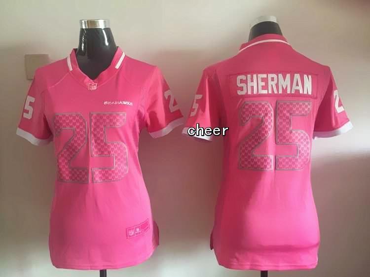 NFL Seattle Seahawks #25 Sherman pink Women Jersey