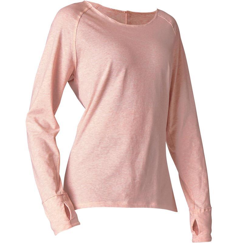 Camiseta Manga Larga Yoga Suave Algodon Agricultura Biologica Rosa