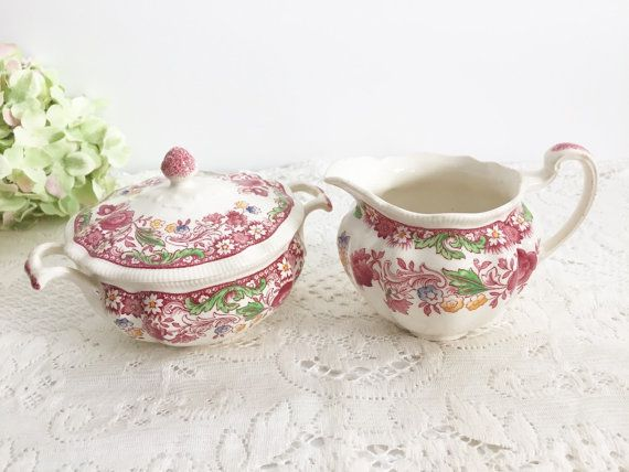 Johnson Brothers Dorchester Sugar Creamer Set Pink Multi