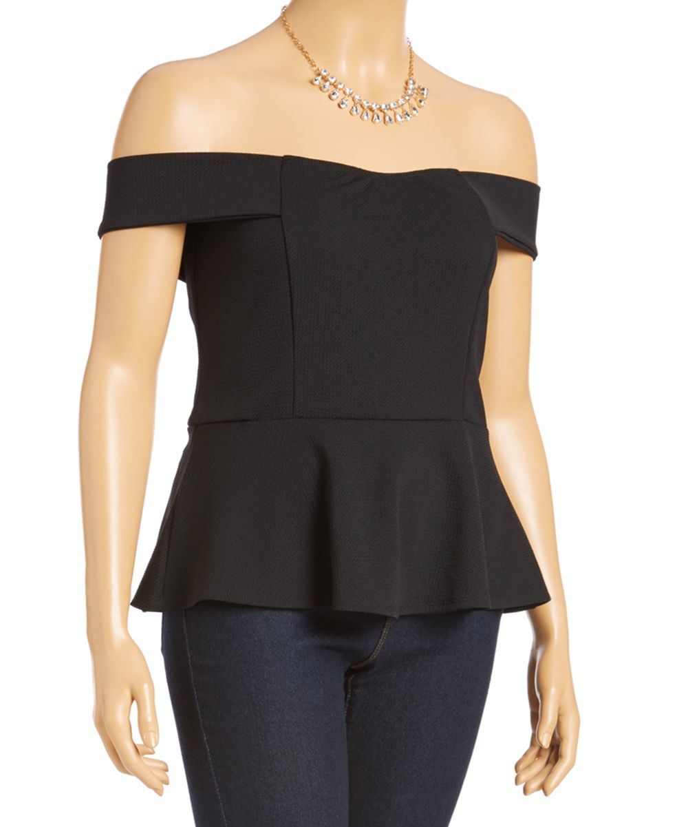 Black Off-Shoulder Peplum Top & Necklace - Plus