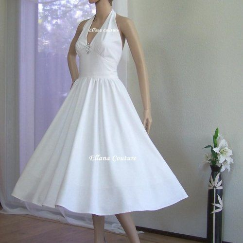 pictures+of+retro+wedding+dresses | Ann - Raw Silk Vintage Inspired Wedding Dress. Retro Tea Length ...