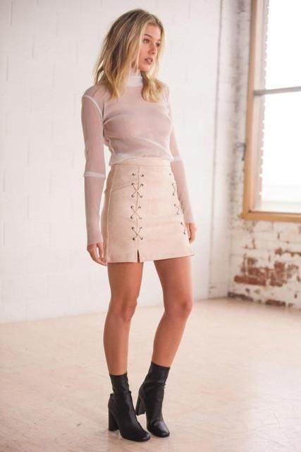 f6795468b79e6 iSHINE Autumn lace up leather suede pencil skirt Winter cross high waist  skirt Zipper split bodycon short skirts womens