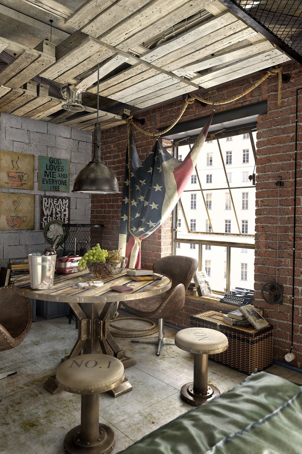 Urban Style For Apartment Interior Design Ideas Which Suitable To Apply For Men Apartment Interior Design Urban Style Interior Industrial Loft Design