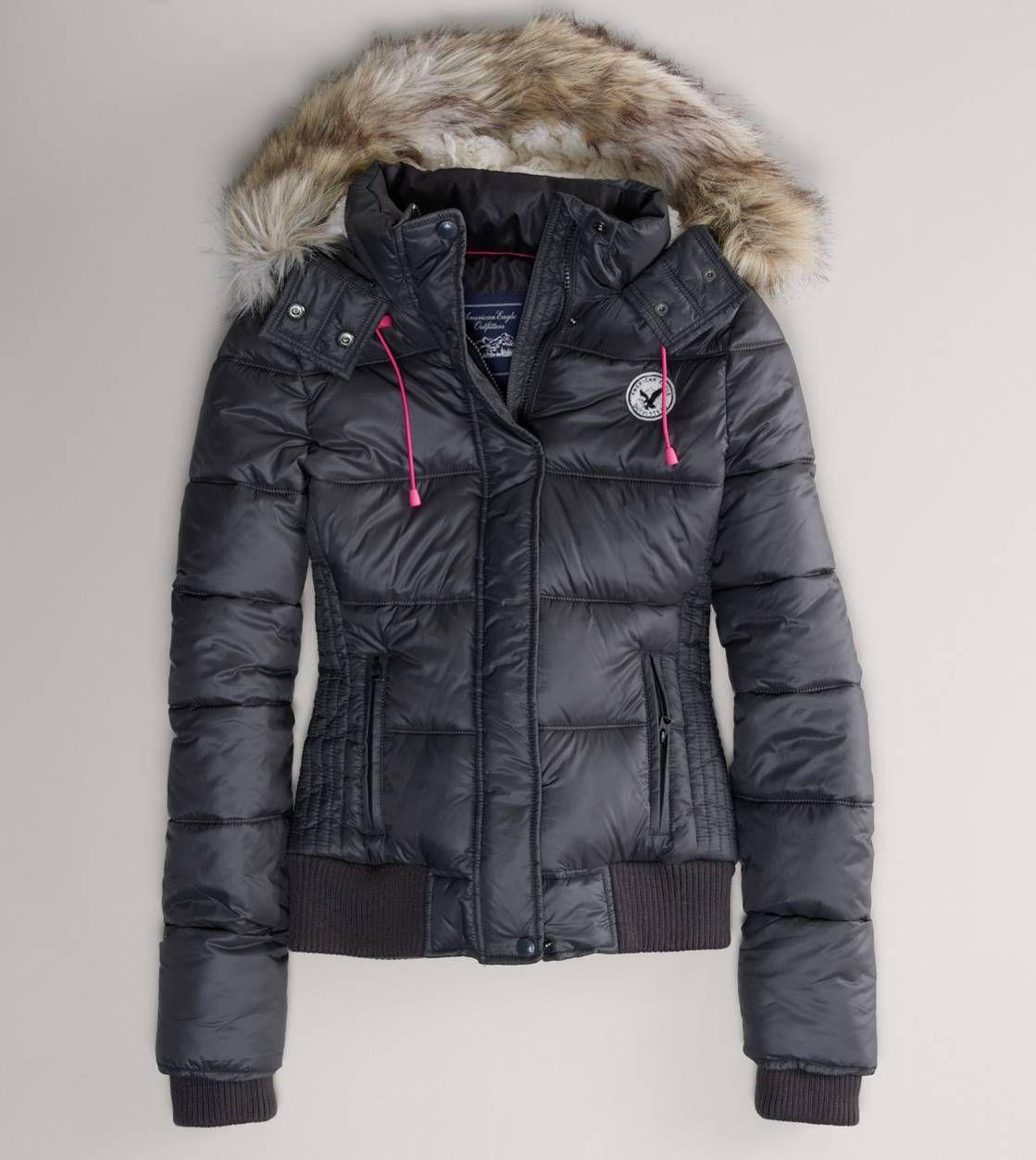 AE Faux Fur Hooded Puffer Jacket Puffer jacket fur hood