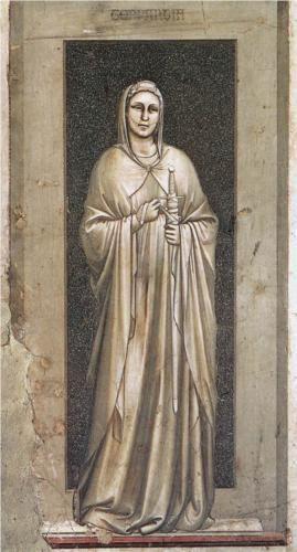 Temperance - Giotto.  c.1306.  Fresco.  120 x 55 cm.  Scrovegni (Arena) Chapel, Padua, Italy.